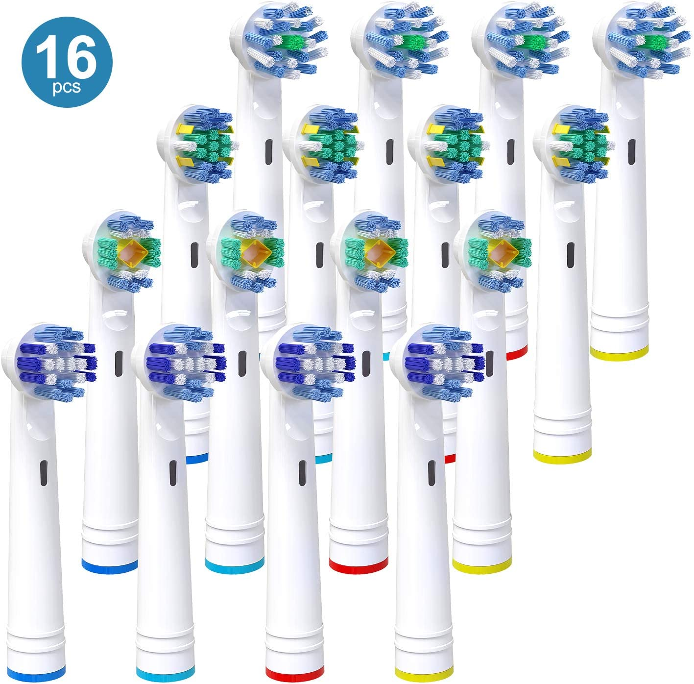 Replacement Brush Heads for Oral B, 16 Pack Electric Toothbrush Heads Compatible with Oral B Pro 3000 Pro 5000 Pro 7000, Includes 4 Precision Clean, 4 Floss Action, 4 Cross Action & 4 3D Whitening