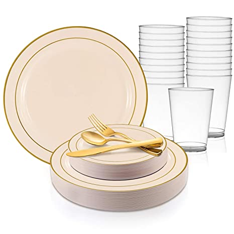 Amazoncom Disposable Plastic Dinnerware Set For 20 Guests