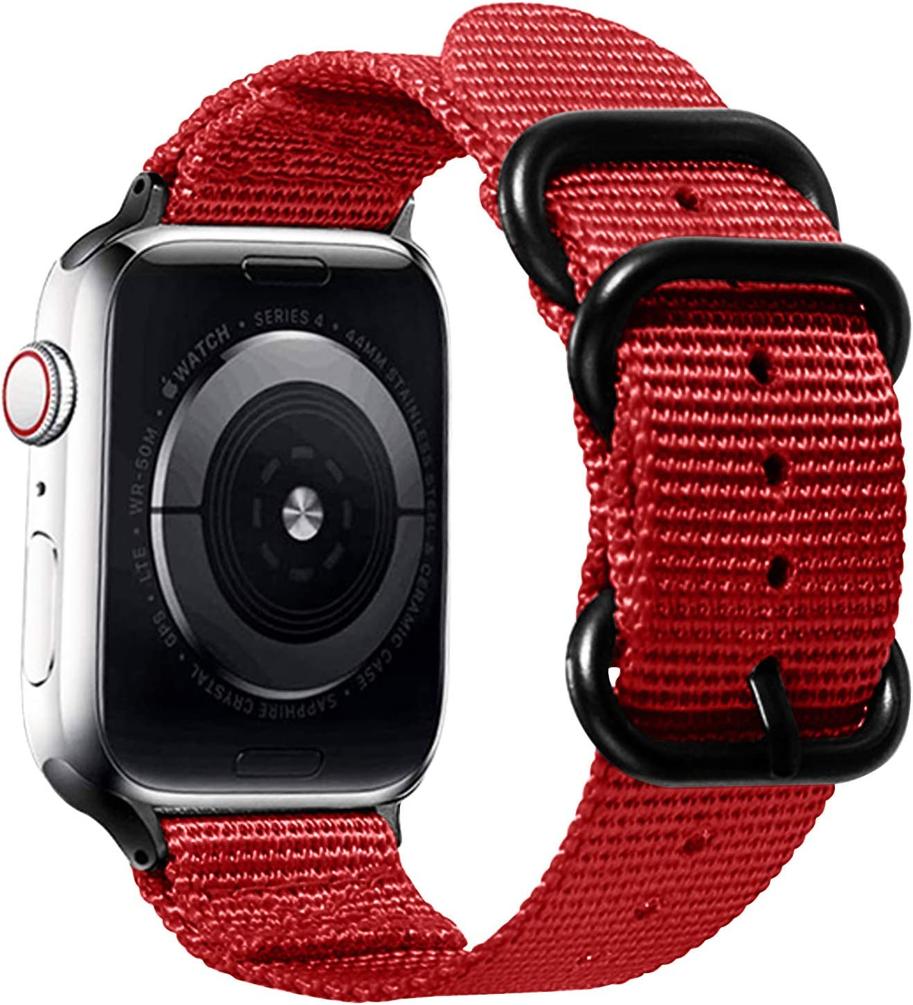 Watpro Compatible with Apple Watch Band 38mm 40mm 42mm 44mm Women Men Nylon Rugged Replacement iWatch Band Military-Style Buckle Grey Adapters for Sport Series 5 4 3 2 1 (1-Red, 42MM/44MM)