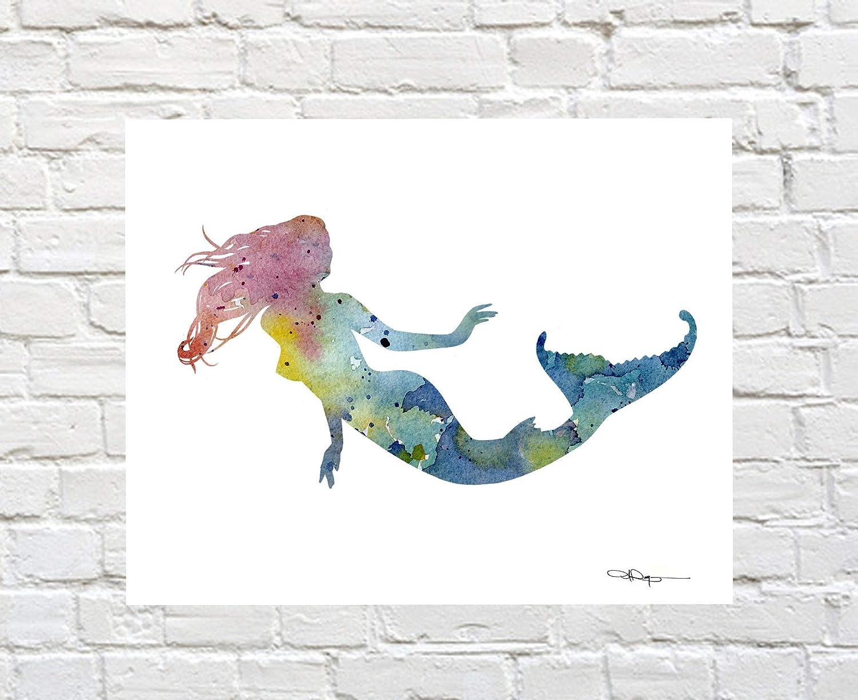 Mermaid Abstract Watercolor Painting Art Print by Artist DJ Rogers