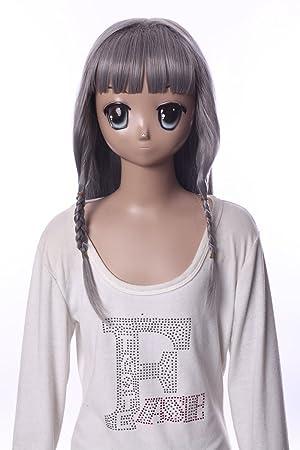 Kawaii-Story W de 538 Luna AIJI Asuka kudou Gris Grey 98 cm Cosplay Peluca