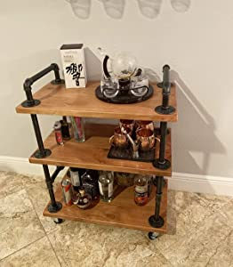 KKLE Industrial Solid Wood and Metal Wine Rack with Wheels Kicthen Bar Dining Room Tea Wine Holder Serving Cart Furniture
