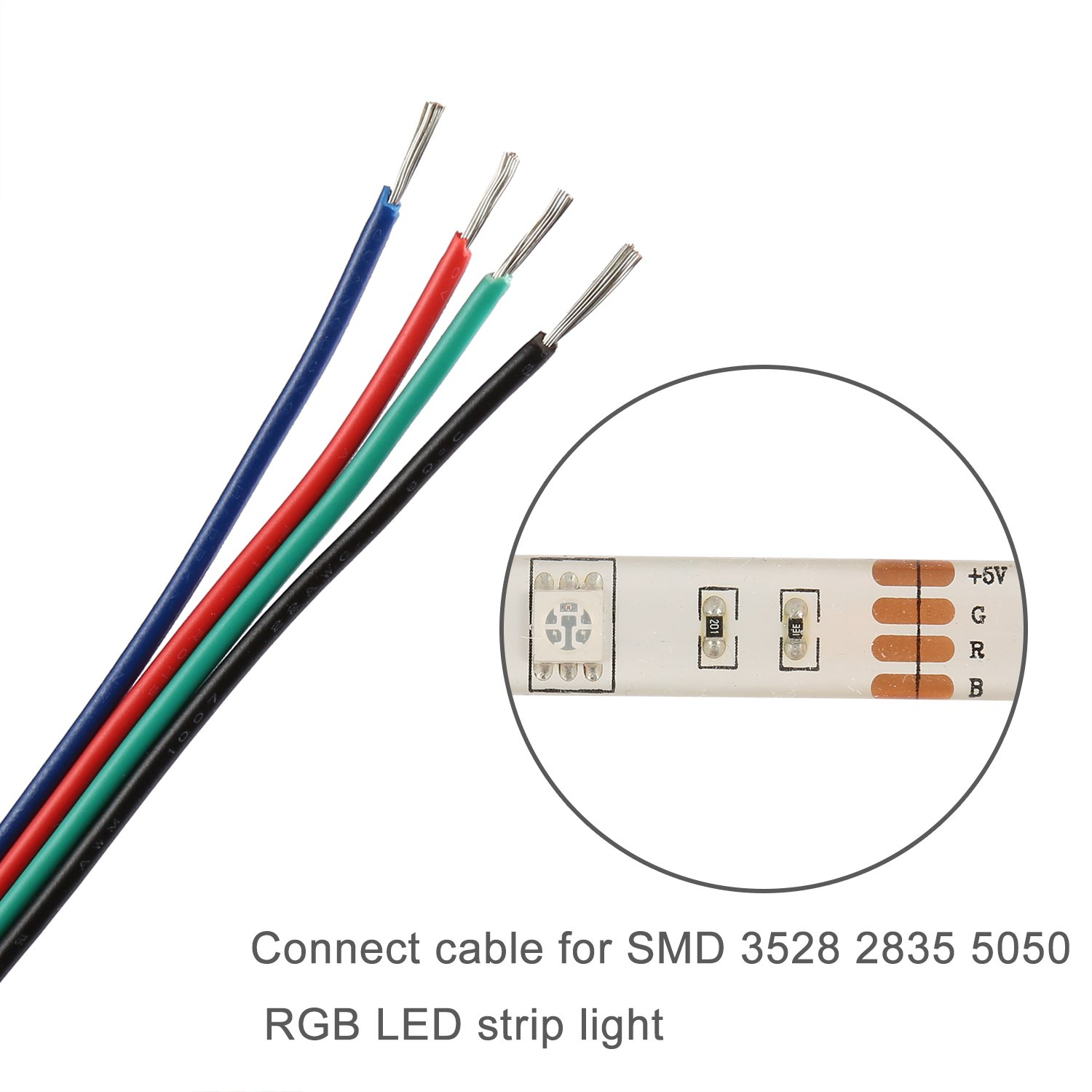 Youkoyi 656ft 20m 4 Pin Led Strip Extension Cable Wire Cord Line Wiring Strips For Rgb 5050 3528 Ul1007 22 Awg Color