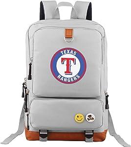 G-III Sports Texas Rangers Bookbag Oxford Backpack Shoulder Bag School Bag Laptop Daypack for Men Women Gray
