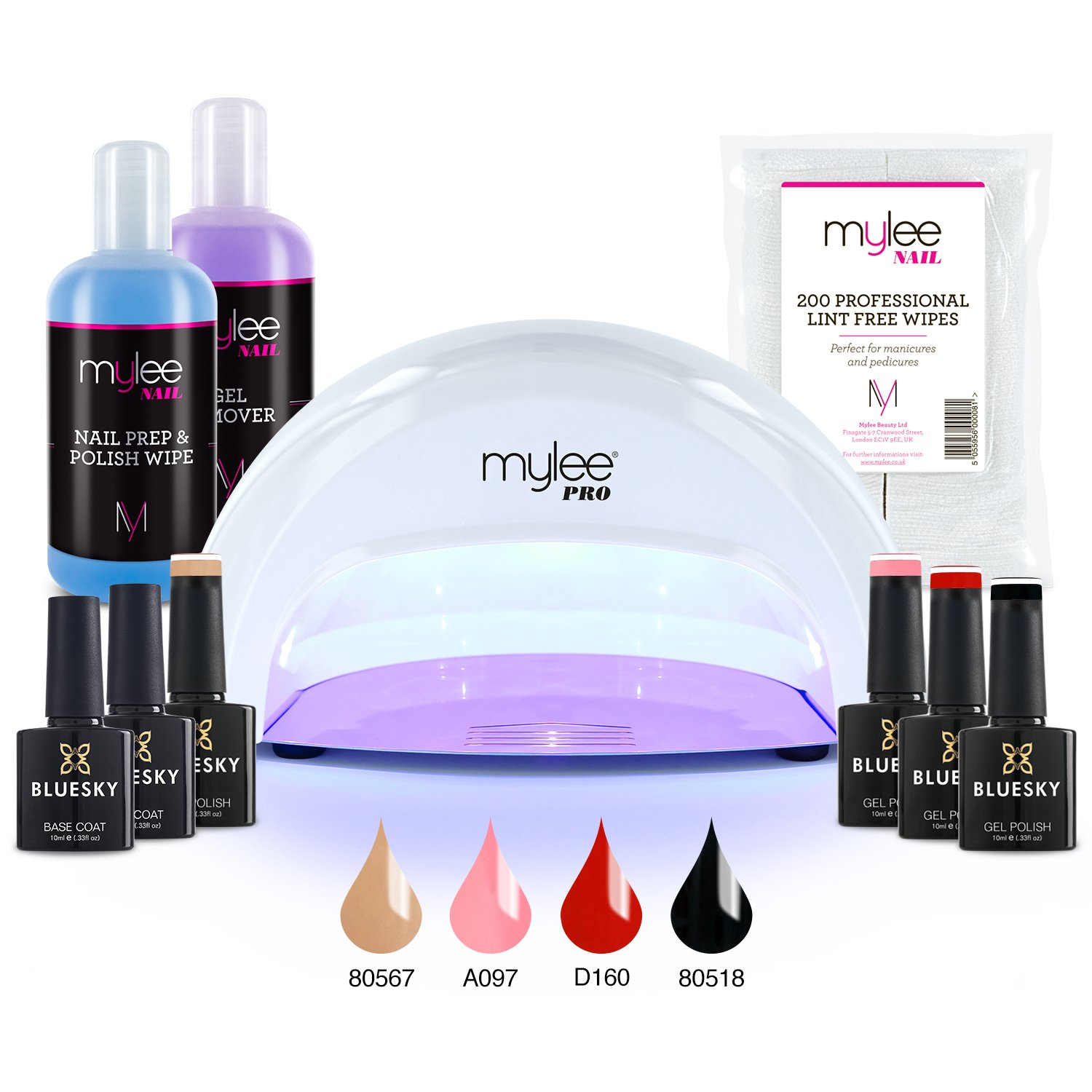 Mylee Complete Professional Gel Nail Polish LED Lamp Kit, Including 4x Bluesky Colours, Top & Base Coat, Mylee PRO Salon Series Convex Curing® LED Lamp, Prep & Wipe, Gel Remover and more (Kit with Black Lamp)