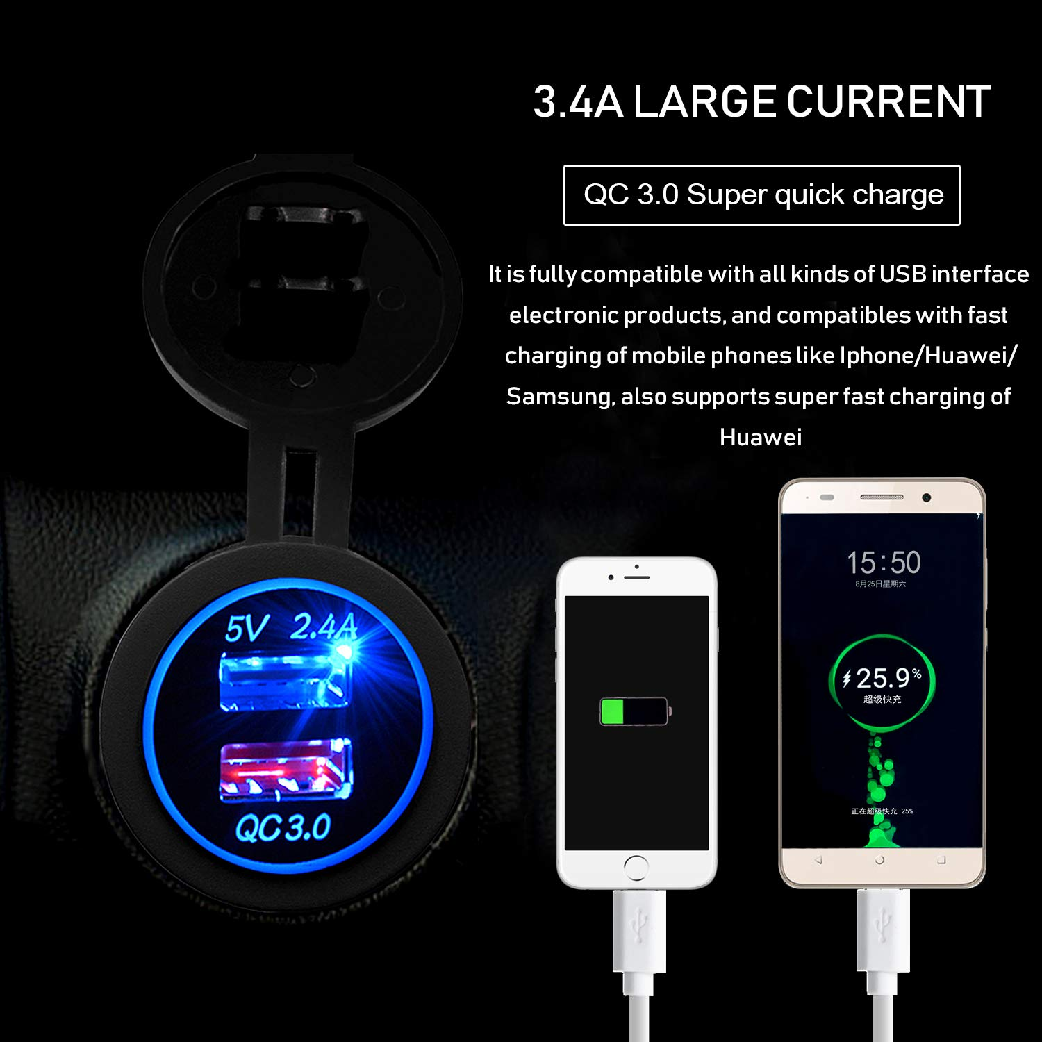 Green Led Light for Car Boat Marine Rv Motorcycle BlueFire Quick Charge 3.0 USB Charger Socket IP66 Waterproof Dual USB Car Charger Power Outlet with QC 3.0 USB Port /& 2.4A Port