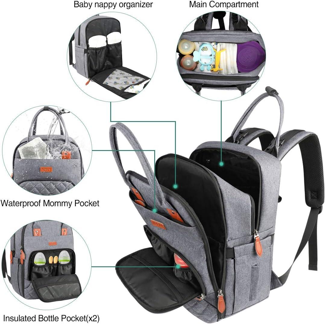 Baby Wickelrucksack Multifunktional Wickeltasche Rucksack mit Wickelunterlage Gro/ße Kapazit/ät babytasche wickeltasche Reisetasche f/ür Unterwegs Passform f/ür Kinderwage Floral Taschen