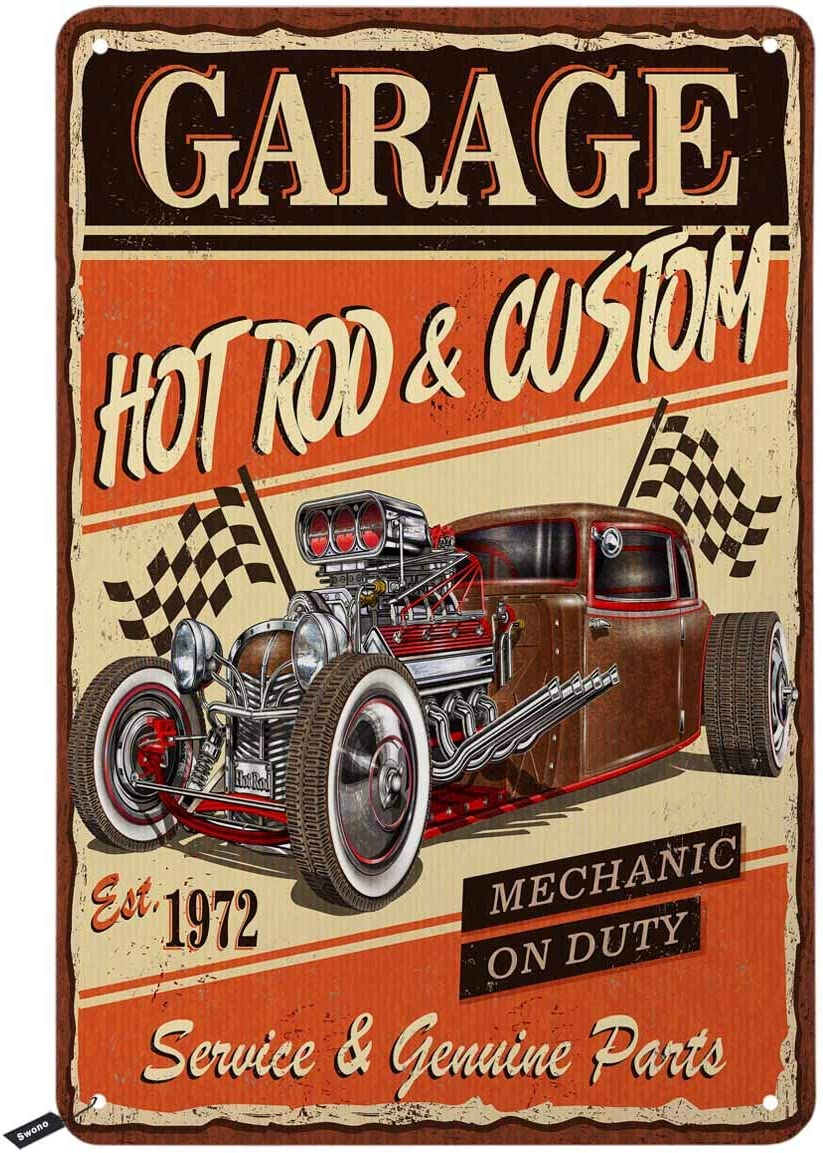 Swono Garage Poster Tin Signs,Hot Rod Car Custom Mechanic on Duty Vintage Metal Tin Sign for Men Women,Wall Decor for Bars,Restaurants,Cafes Pubs,12x8 Inch
