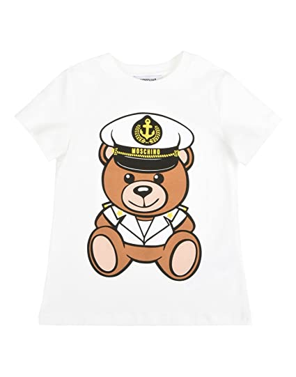 34e34663b29d66 Moschino T-Shirt Bianca Stampa Orsacchiotto Marinaro 10A: Amazon.co.uk:  Clothing