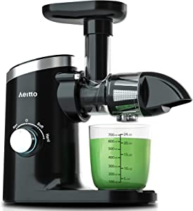 Slow Juicer,Aeitto Masticating Juicer,Cold Press Juicer with 2-Speed Modes,Juicer Machines with Reverse Function & Quiet Motor for Vegetables And Fruits,Easy to Clean with Brush
