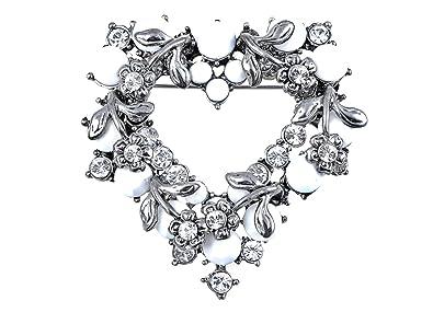 Swarovski Crystal Elements Gunmetal Grey Tone White Bead Heart Wreath Pin  Brooch