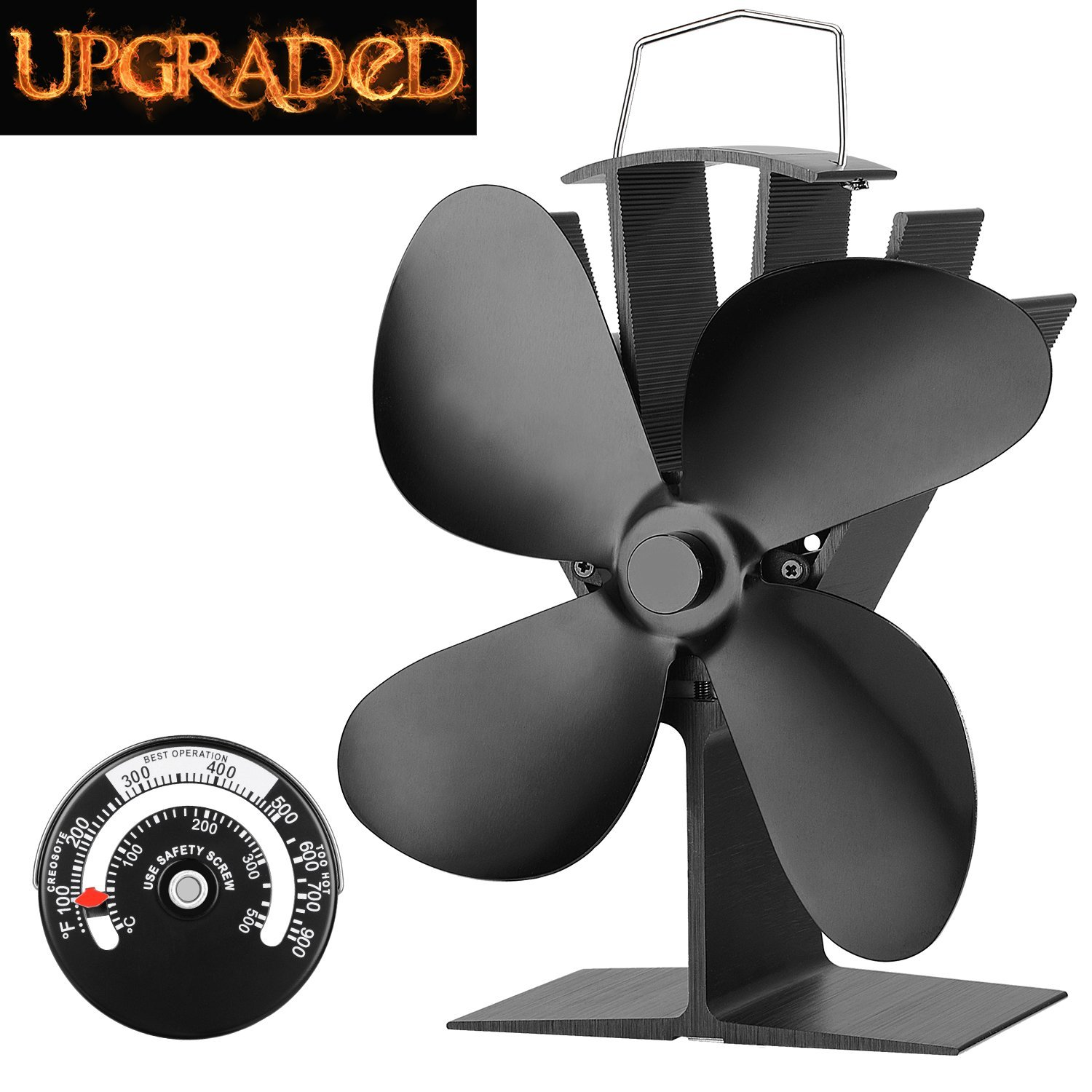KINDEN 4-Blade Heat Powered Stove Fan for Wood/Log Burner/Fireplace, efficiently circulates Warm air Throughout The Room