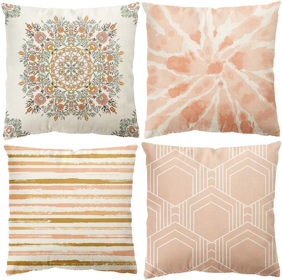 ORTIGIA Set of 4 Pink Mandala Flower Throw Pillow Cover 18x18 Inch Farmhouse Rustic Geometric Figure Boho Floral Throw Pillowcase Home Sweet Home Decor for Sofa Couch Bedding Car