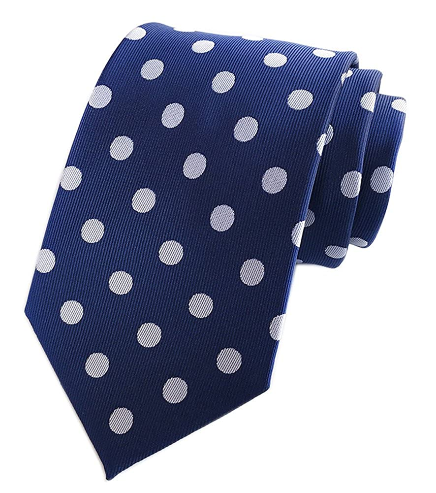 4701d60ea457 ... Material: care-free microfiber polyester silk, Dry cleaning, low  temperature ironing. A classy polka dot necktie in navy blue and rose-pink.