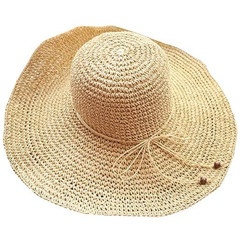 YOUJIA Sombreros de Paja de Sol, Respirable Playa Gorra con el Arco Para Mujer