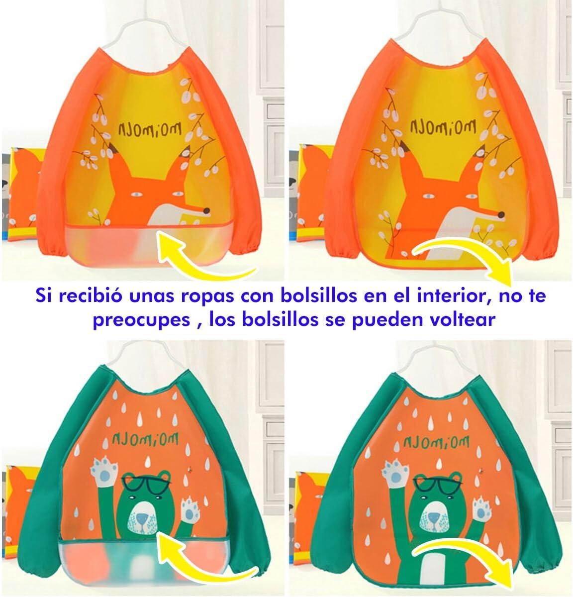 MOMOZAI 4 pcs Babero con mangas EVA Impermeable Unisex Delantal ...