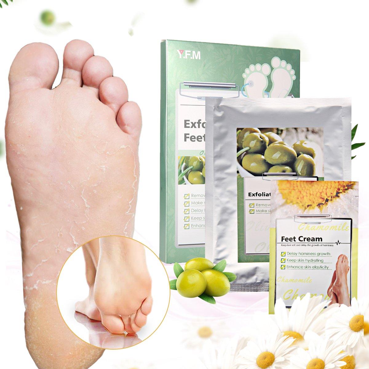 Foot Peel Mask-LuckyFine Foot Peeling Mask, Exfoliating Calluses and Dead Skin Remover,Repair Rough Heels, Get Soft Touch Foot in 1-2 Weeks(1 Pair Olive Feet Mask+1 Pcs Foot Cream Per Box)