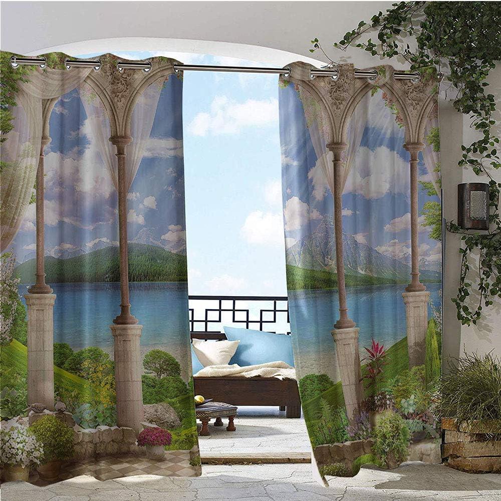 Cortina para ventana con estampado de panel único para interiores y exteriores, vieja piedra antigua, vista al arco del mar, balcón, fresco, plantas de jardín, espiritual, arandela superior plateada, multicolor: Amazon.es: Jardín