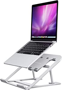 FURNINXS Laptop Stand, Ergonomic Aluminum Notebook Holder with 6 Angles Adjustable Portable Foldable Tablet Computer Stand for Most 11-15.6in MacBook Pro Air, Lenovo, HP, Dell Laptops