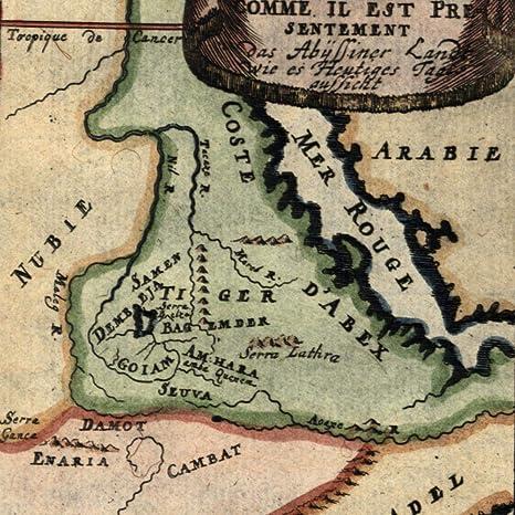 Africa Map Red Sea.Amazon Com Africa Red Sea Coast Adel Abex Arabia Nubia 1719 Antique