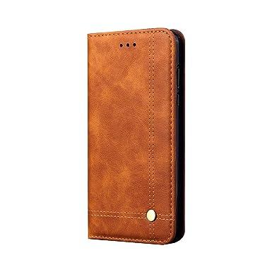 Funda para Xiaomi Redmi Note 7/Note 7 Pro Premium Piel Suave de Negocio Funda de Cuero Genuino Flip Case del Tirón Protección De Cuerpo Completo ...