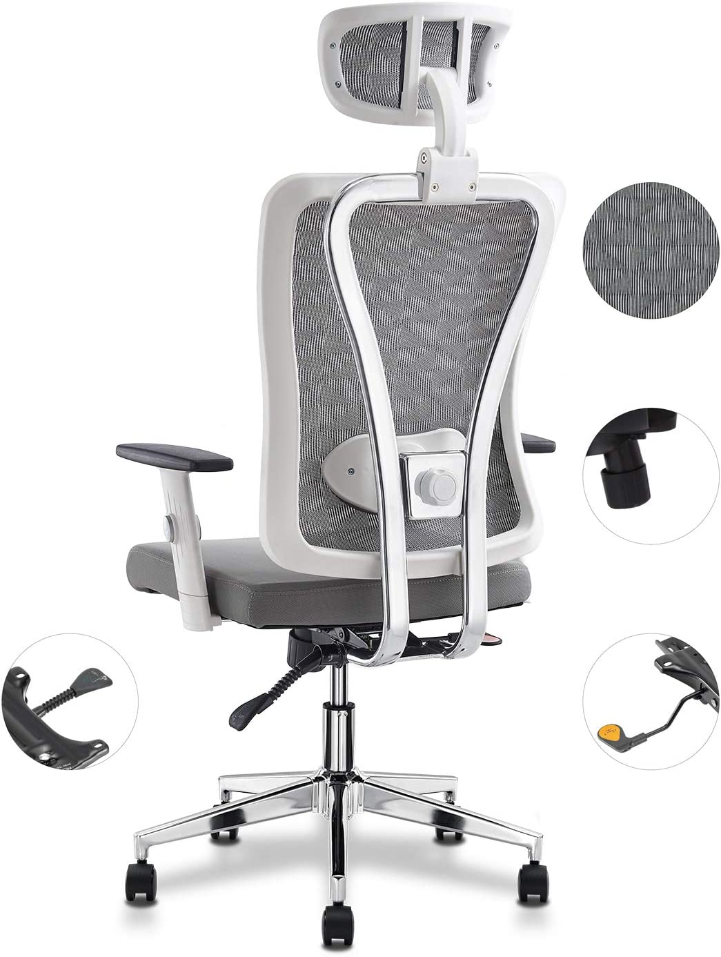 Cedric White Ergonomic Adjustable Office Chair with Adjustable Lumbar Support-High Back with Thickening Sponge Seat Cushion-Adjustable Head-Arm Rests,Seat Height-Reclines Compliance with EU EN1335