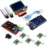 Kits d'imprimantes 3D Controller RAMPS 1.4 + Mega 2560 R3 + 5 pcs pilote A4988 Stepper Motor avec dissipateur + LCD 12864 intelligent Affichage graphique contrôleur avec adaptateur pour Arduino RepRap