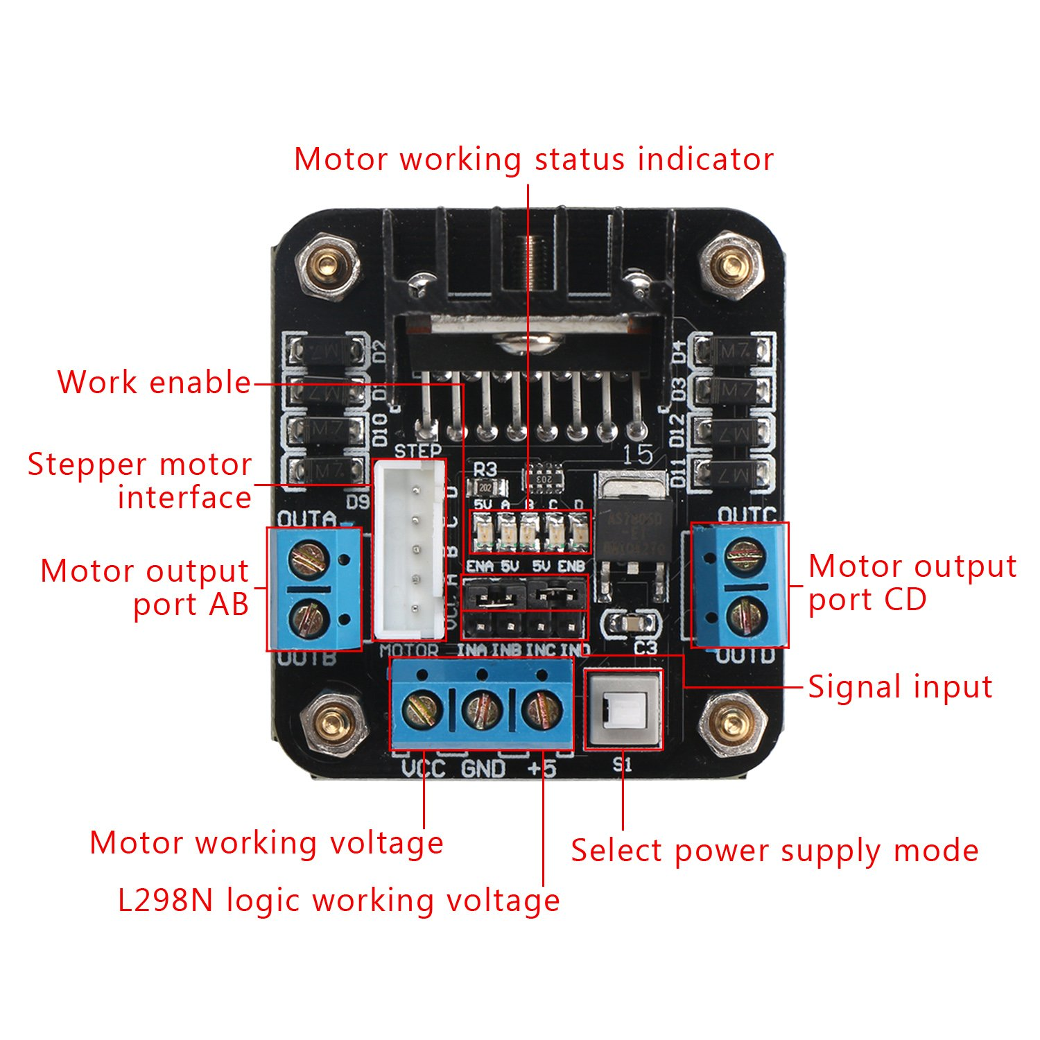 L298n H Bridge Motor Driver Drok Dc Dual Stepper Controller Board 5v 2a 20w Regulator Drives Module For Arduino Uno Circuit Diagram In Addition Smart Car