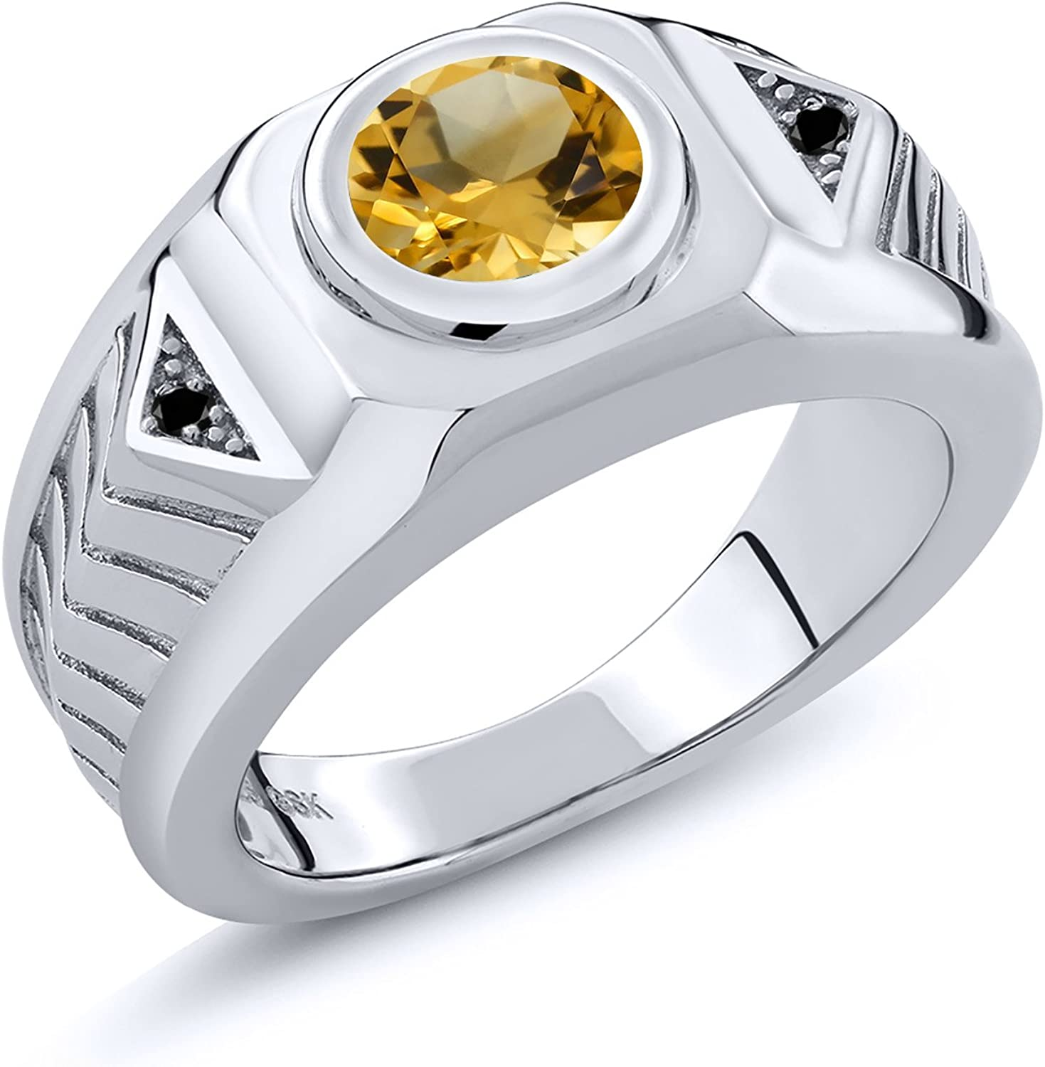 Gem Stone King 925 Sterling Silver Yellow Citrine and Black Diamond Men's Ring (1.53 Cttw Round, Available 7,8,9,10,11,12,13)
