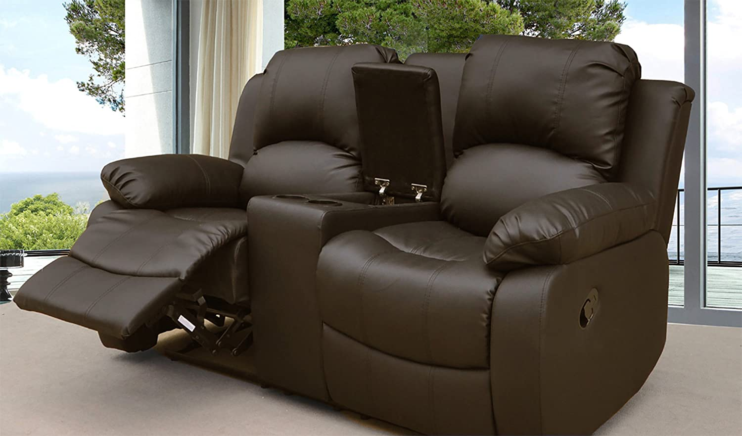 lovesofas valencia 2 seater recliner sofa with console brown rh amazon co uk two seat recliner sofa cover Wide Seat Sofa