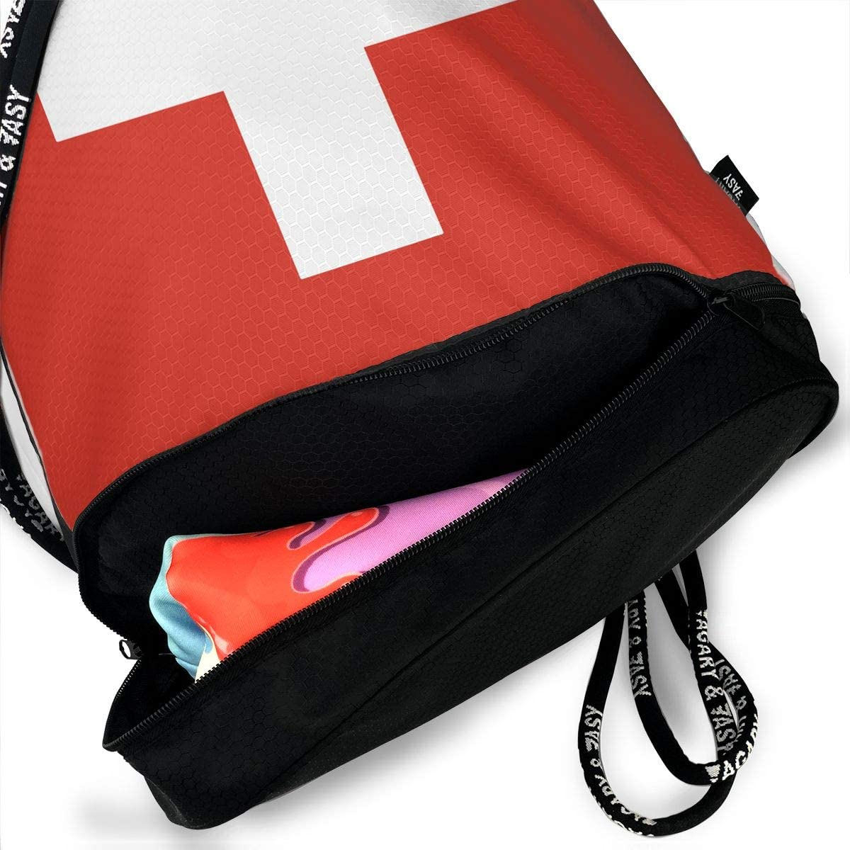 Drawstring Backpack Flag Of Switzerland Shoulder Bags