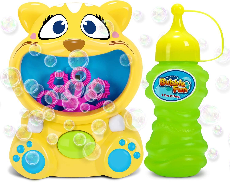 RenFox Maquina Burbujas Niños, Máquina de Burbujas de Jabon Automática de Lindo Gatito, Soplador de Pompas Bubble Machine para Juguete de Baño, Fiesta, Boda, Regalo Ideal