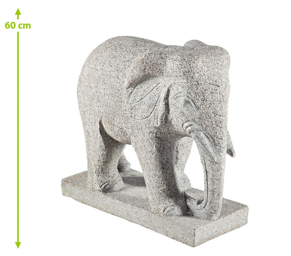 Dehner Dekofigur Elefant auf Sockel, ca. 50 x 23 x 49 cm, Granit ...