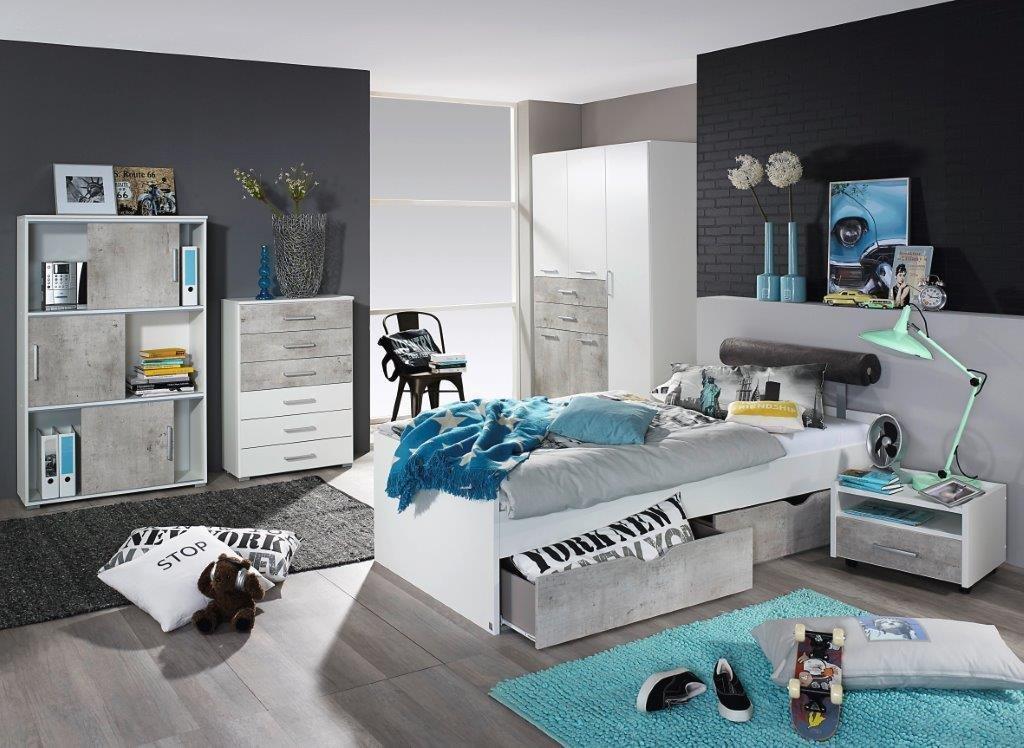 Jugendzimmer Factory In Betonoptik Weiß Set Komplett Beton Stil Günstig