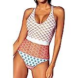 CUPSHE Women's One Piece Swimsuit Scoop Neck Double Straps Geo-Print Swimwear Bathing Suits