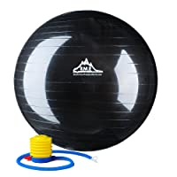 Black Mountain Products Black Anti Burst Exercise Stability Ball with Pump, 2000-Pound