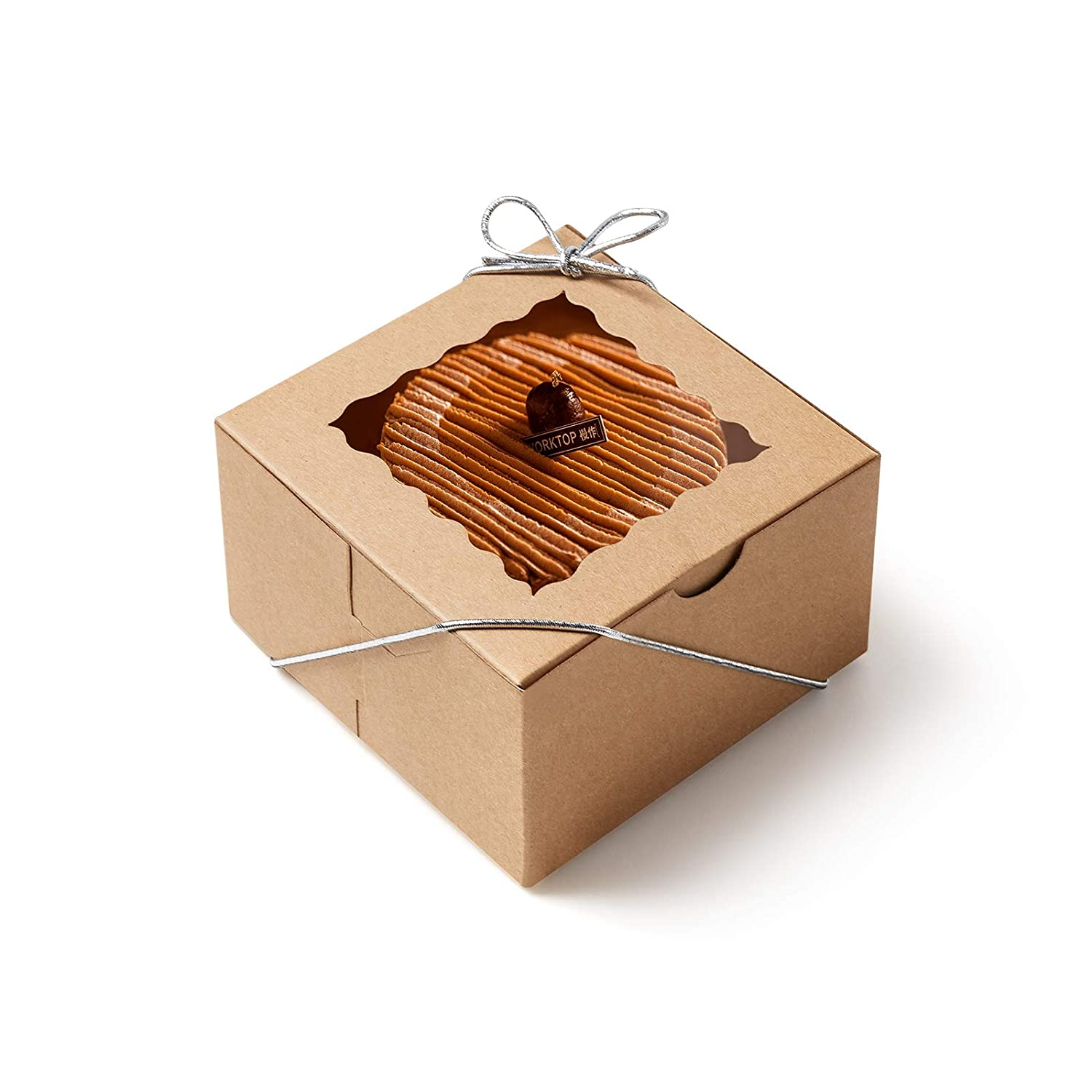 50 PCS Bakery Boxes with Window 4x4x2.5 inches Cookie Boxes for Packaging Mini Cupcake Boxes Cookie Bakery Boxes for Gift Giving Bakery Treat Boxes for Cupcakes, Cookies, Donuts,Pastries(Brown)