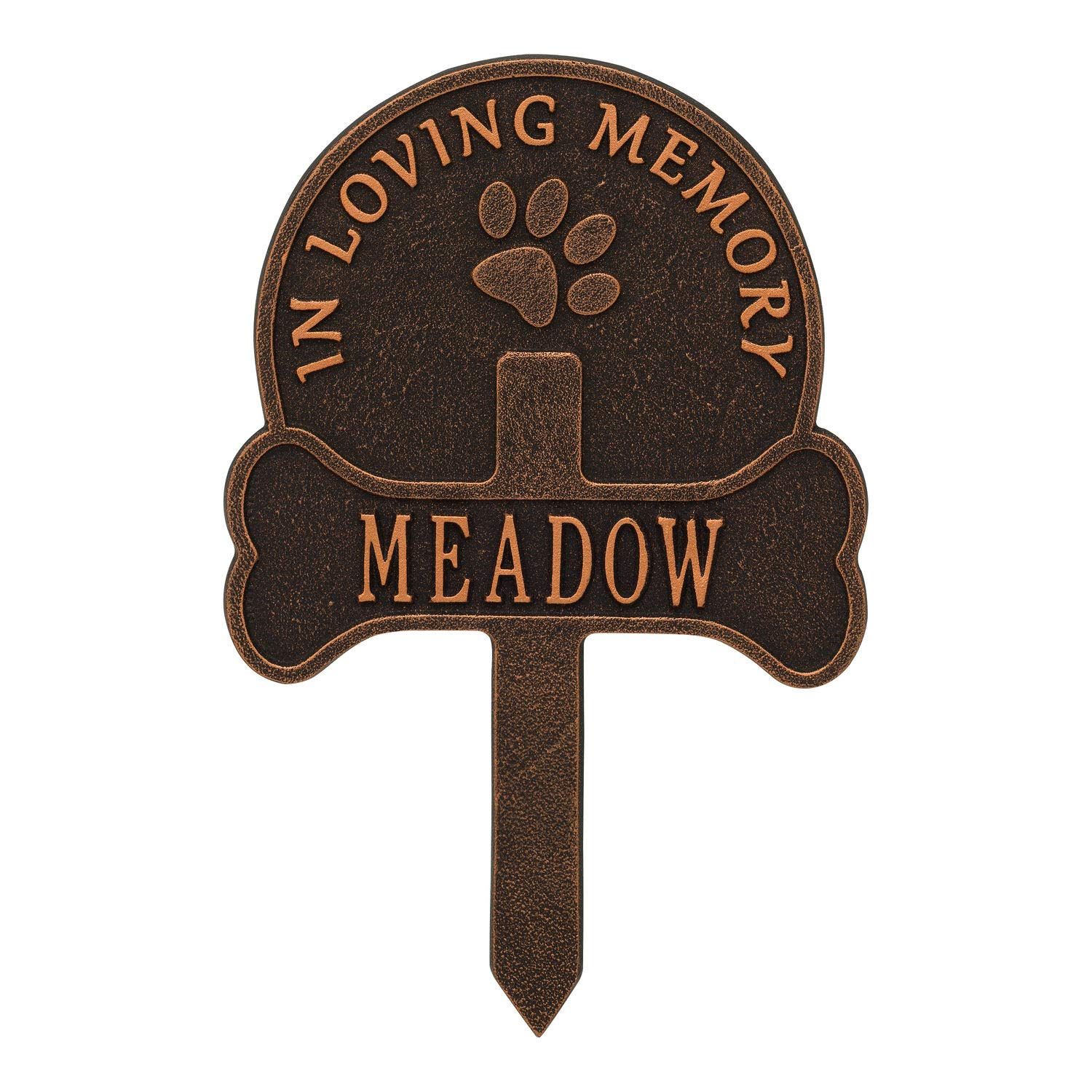 dreaminghigh Whitehall Personalized Pet Memorial Yard Sign - Custom Cast Aluminum Dog Paw and Bone Remembrance Cross Garden Stake, Grave Marker - Oil Bronze by dreaminghigh