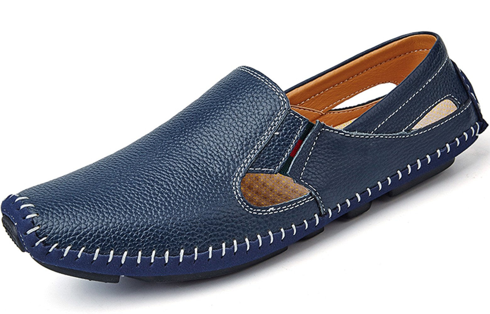 YZHYXS Men Leather Driving Shoes Fashion Slippers Casual Slip on Walking Loafers Shoes Summer Blue Size 11 (932-blue-45)