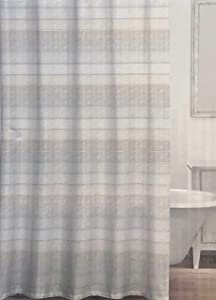 Caro Fabric Shower Curtain Wide Tan Taupe Beige Stripes with Thinner Silver Stripes -- Arianna, Neutral