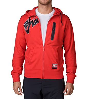 Amazon.com  Nike Men s Air Bonded Full-Zip Red Basketball Hoodie ... 1ac951594