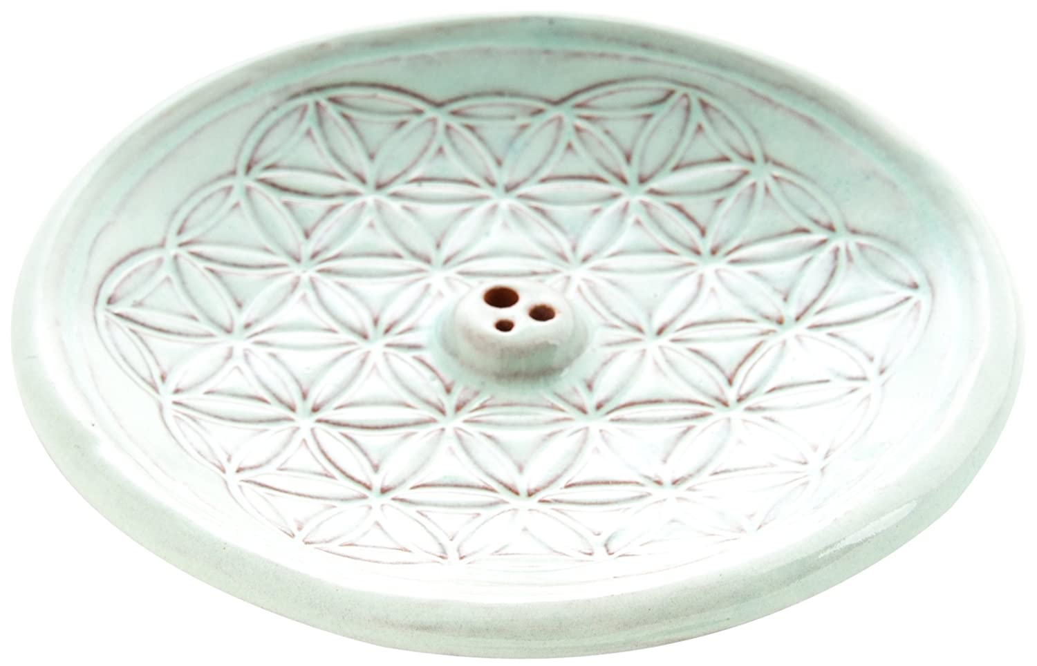 Berk - Inner Worlds Flower of Life Ceramic Incense Holder, Blue KH-560-BL