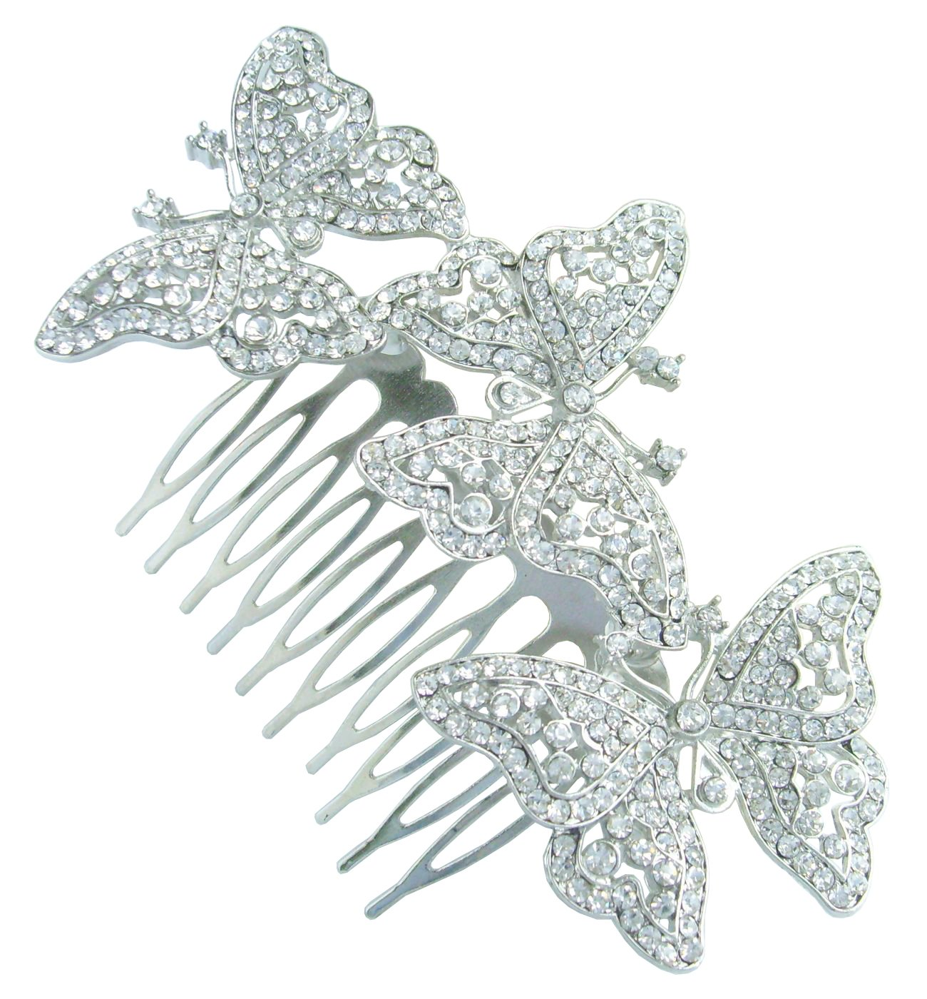 Sindary 4.13'' Silver Tone Clear Rhinestone Crystal Butterfly Bridal Hair Comb Wedding Headpiece HZ2859