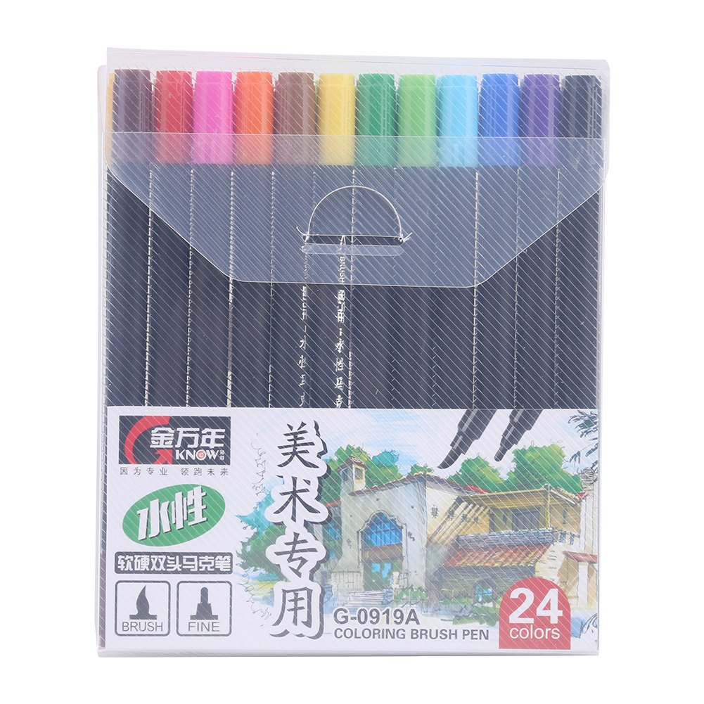 24 Colors Dual Tips Hard & Soft Brush Watercolor Marker Pens for Painting and Drawing