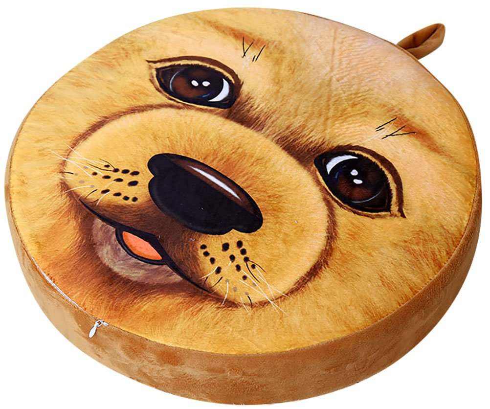 ChezMax 3D Cartoon Chair Seat Sofa Back Stuffed Cushion Insert Filler Filling For Decor Home Office Plush Play Toy Throw Pillow Student Golden Retriever Dog