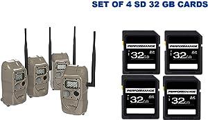Cuddeback CuddeLink J Series Trail Cameras (4 Pack) Bundle with 32GB Cards (8 Items)