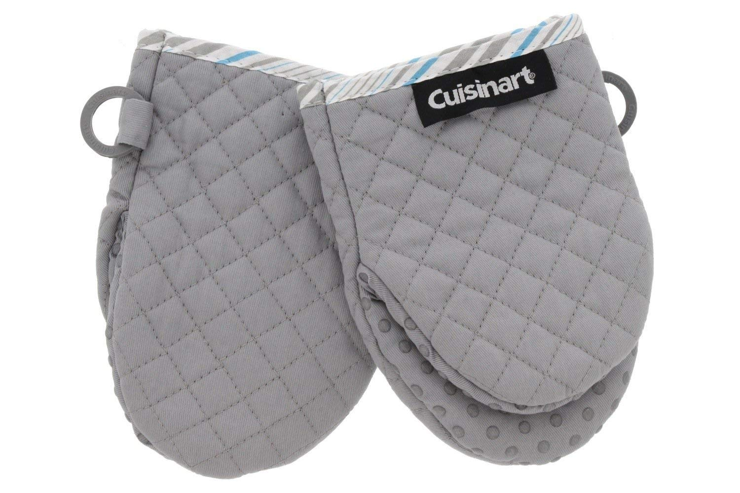 Cuisinart Silicone Mini Oven Mitts, 2pk - Little Oven Gloves for Cooking - Heat Resistant, Non-Slip Grip, Hanging Loop, 5.5 x 7.5 Inches - Ideal for Handling Hot Kitchen, Bakeware Items - Drizzle Grey by Cuisinart