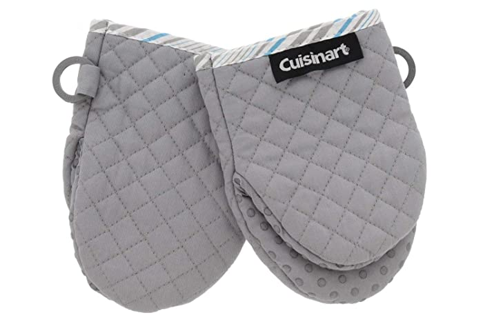 Cuisinart Silicone Mini Oven Mitts, 2 Pack – Little Oven Gloves for Cooking - Heat Resistant, Non-Slip Grip, Hanging Loop, 7 x 5 Inches - Ideal for Handling Hot Kitchen/Bakeware Items - Drizzle Grey
