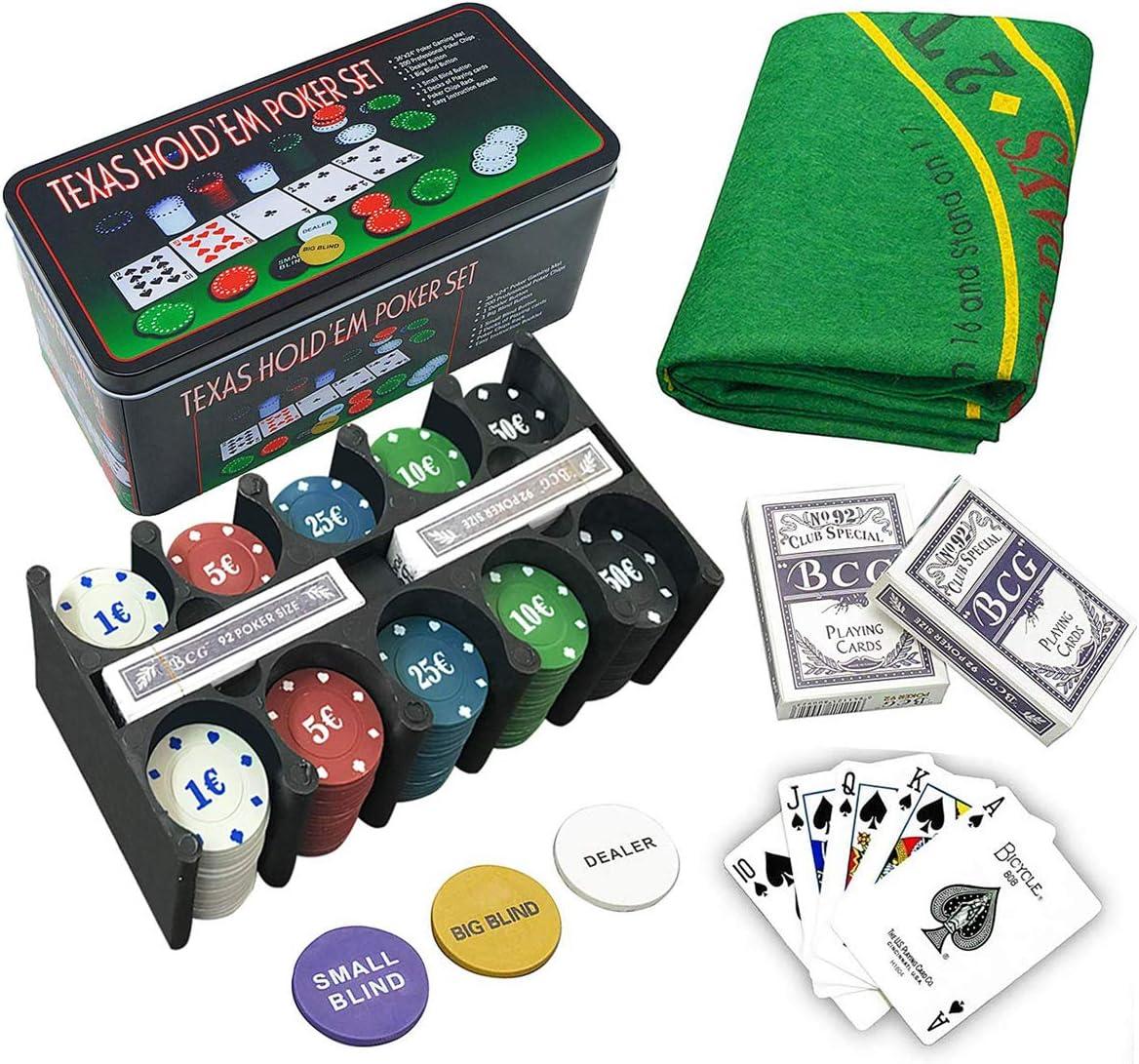 Set de póker caja de metal, 200 fichas de póker, 2 cubiertas, botón de repartidor, ciega pequeña, gran ciega, tapete de juego: Amazon.es: Juguetes y juegos