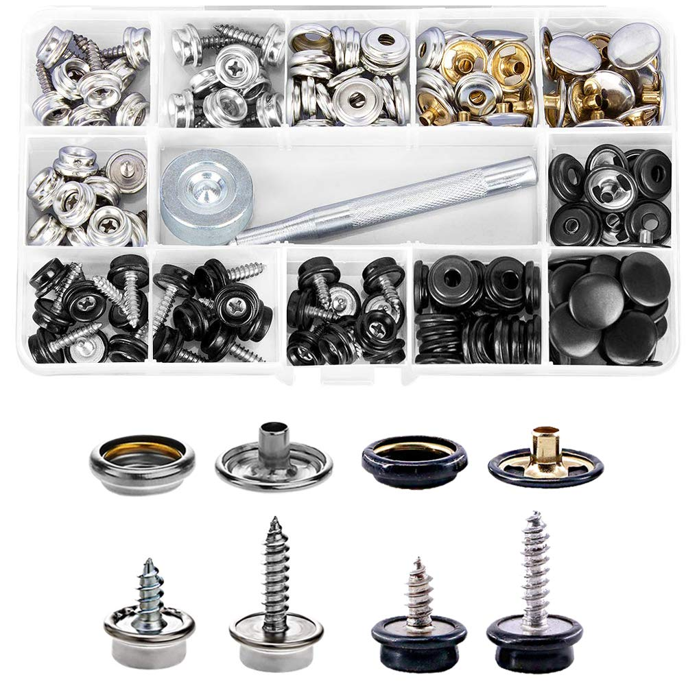 Saiper 150 PCS//50Sets Canvas Snaps Kit Stainless Steel Furniture Canvas Marine Grade Boat Cover Metal Snap Button Fastener Kit with 2 PCS Setting Tool Silver and Black